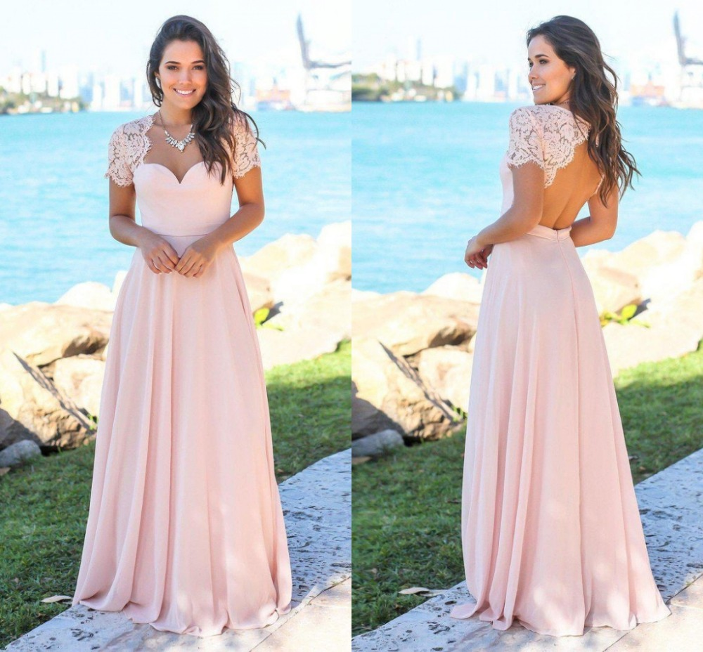 Blush Country   Bridesmaid     Dresses   2018 Scoop Hollow Back Lace Top Chiffon Beach Garden Wedding Guest Gowns Maid Of Honor Vestidos