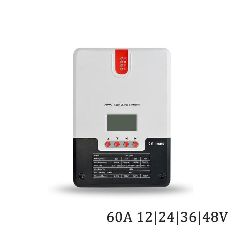 60A 12 v/24 v/36 v/v display LCD MPPT carregador solar seale 48 GEL AGM ferro de lítio li-ion bateria PWM controlador de carga solar
