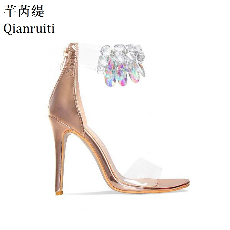 Qianruiti Rose Gold Nude Leather High Heels Sandals Transparent PVC Ankle Strap Women Pumps Clear Crystal Thin Heels Women Shoes