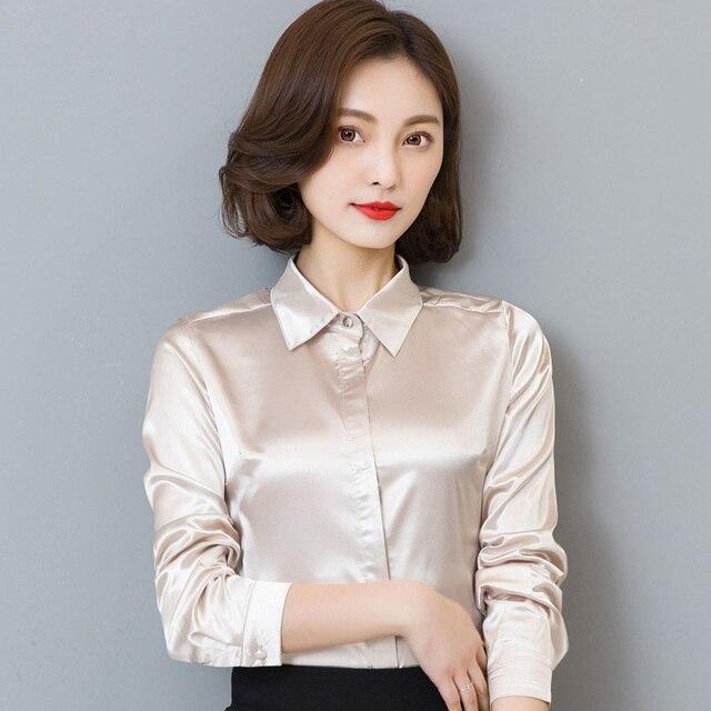 ea6bf672e1 Mulheres Simular Brilhante de Cetim de Seda Camisa Formal do Negócio de  Manga Longa Blusa Tops
