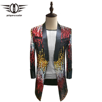 Plyesxale Colorful Sequin Blazer Men 2018 Long Blazer Jacket Gold Silver Blue Green Pink Stage Party Prom Blazers For Men Q224