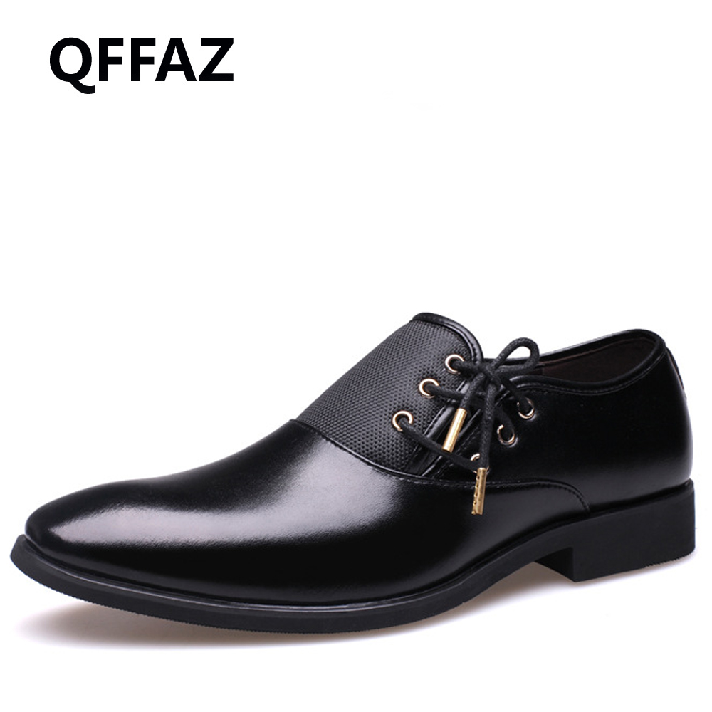 QFFAZ New Brand Mens Dress Shoes Black Classic Point Toe Oxfords For Men Fashion Mens Business Party Shoes Big Size 38-47