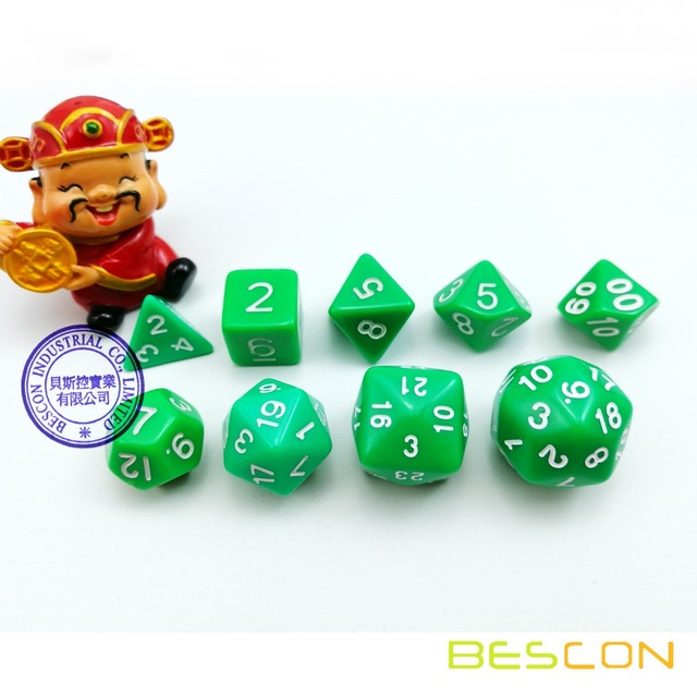 Conjunto de Dados Poliédricos 9 Die D30 BESCON D24 D20 D12 D10 D8 D6 D4 Jogo Cortam o Jogo Dungeons And dragões DND Dice RPG MTG Verde
