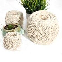Натуральный витой хлопчатобумажный канат 2 мм 3 мм 4 мм натуральный хлопок Макраме Веревка рис белый бежевый