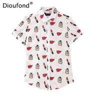 Dioufond Summer Short Sleeve Lips Print Women Blouse Shirt Floral White Navy Shirts Top Blusas 2017