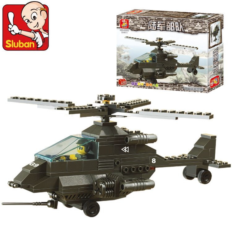 Model building kits compatible with lego city Apache fighter plane 724 3D blocks Educational toys hobbies for children