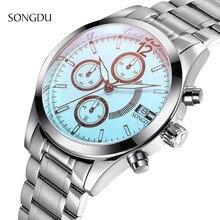 2017 new SONGD fashion casual simple watch men Three eyes luxury waterproof calendar Steel strip men quartz watches reloj hombre