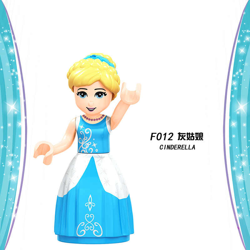 Fairy Tale Princess city Series Cinderella White Snow Doll Anna Playmobil Building Blocks Friends Toys Bricks for Children Girls
