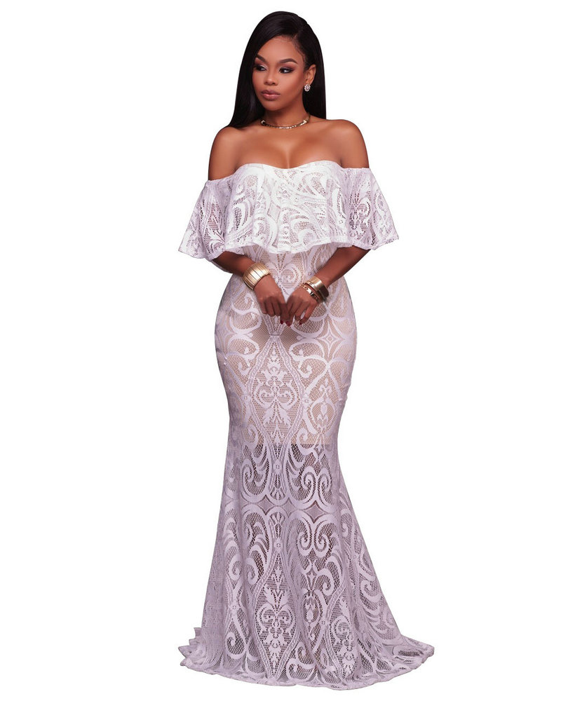 Elegance Lace Evening wear Women New Slash Neck Backless Occasion ...