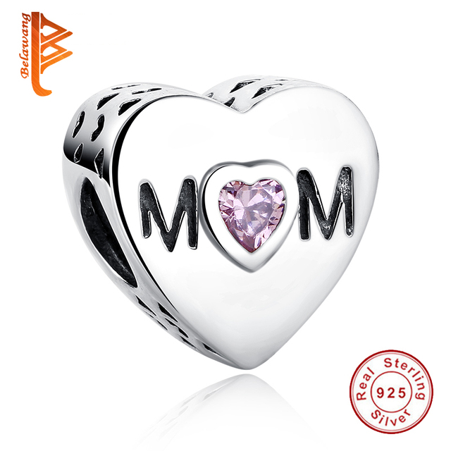 BELAWANG Mother's Day Gift 925 Sterling Silve Heart Shape MOM Beads Fit Original  Charm Bracelet Jewelry making