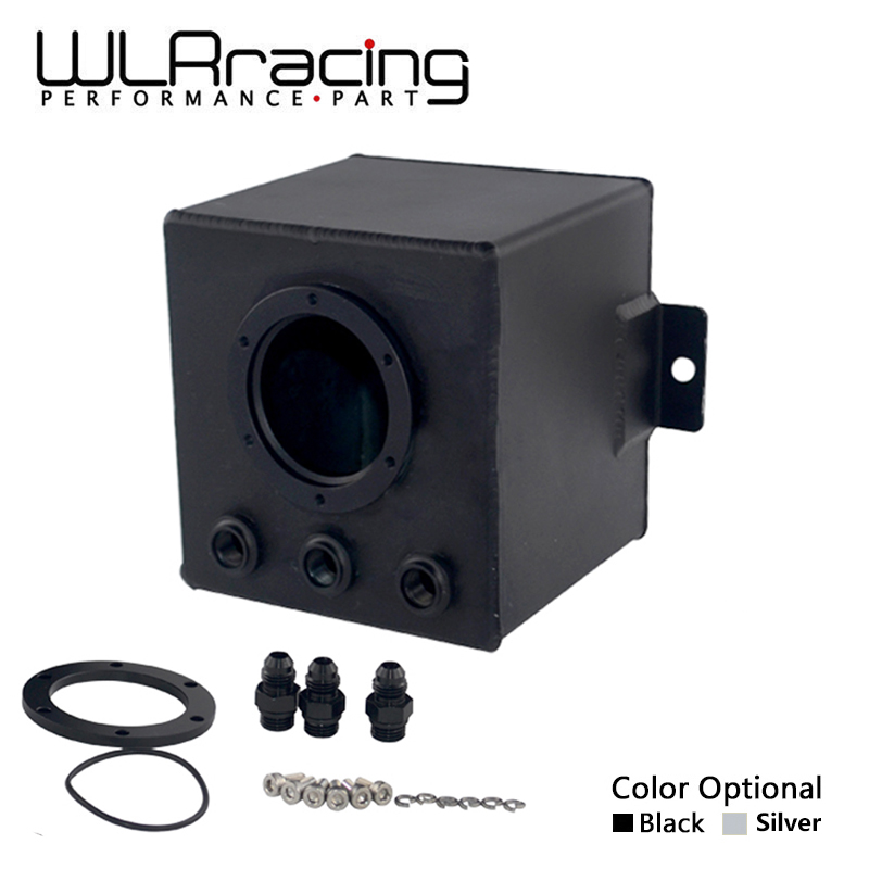 WLR RACING - 2L SILVER & BLACK BILLET ALUMINUM FUEL SURGE TANK / AN6 SURGE TANK WITH 3PC AN6 FITTINGS WLR-TK83 wlr racing 15 gallon 56 8l racing aluminum gas fuel cell tank with billet red cap fuel surge tank wlr tk72