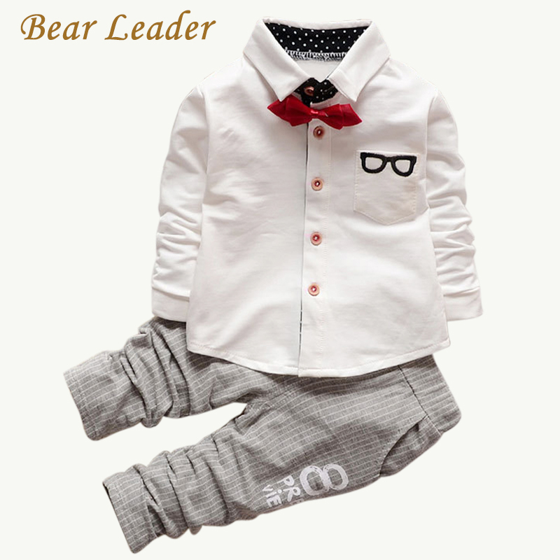 все цены на Bear Leader Baby Clothing Sets Kids Clothes Autumn Baby Sets Kids Long Sleeve Sports Suits Bow Tie T-shirts + Pants Boys Clothes онлайн