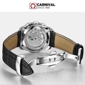 Image 4 - Meccanico automatico svizzera di marca degli uomini orologi da polso di moda di lusso cinturino in pelle orologio da polso impermeabile 100M orologio relogio reloj