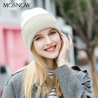 MOSNOW Women S Hats Cotton Fashion Brand New Autumn 2017 Winter Cap High Quality Knitted Hat