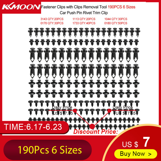 Universal Auto Fastener Clips Plastic Fastener Rivet Clips 190Pcs 6 Sizes Car Push Pin Rivet Trim Clips Fastener Clips