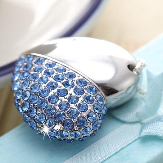 Blue Heart Jewelry USB Flash Drive 64GB 2TB Pen Drive 8GB 1TB Pendrive 32GB 16GB Creativo Memory Stick Disk Key Gadget Gift 2.0