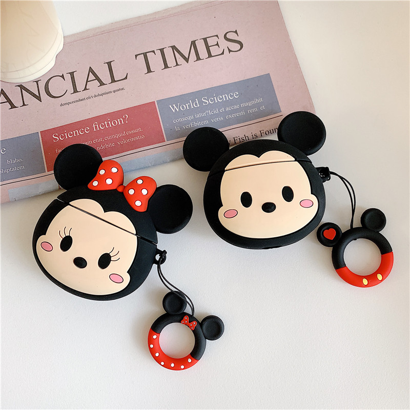 3D cartoon Mickey Minnie Mouse Soft Silicone Earphone Case For Apple AirPods 1 2 Protection Wireless Bluetooth Headset Cover-in Earphone Accessories from Consumer Electronics