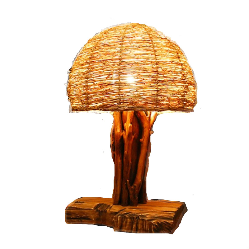 Vintage Retro Country Exotic Thailand Wiker Wood Table Lamp for Living room Bar Restaura ...