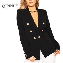 Qunndy Autumn OL Style Double Breasted White jackets Women Coat Elegant Slim Suit Black Cool Winter