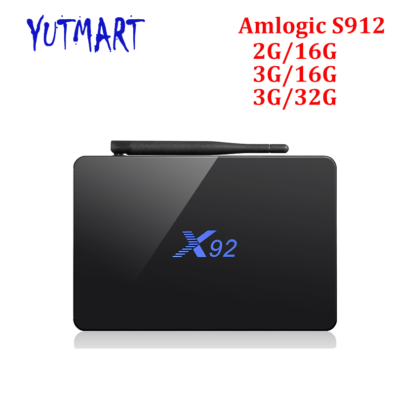 10pcs X92 Android tv box Amlogic S912 Octa core 2GB 16GB X92 smart set top box dual wifi BT4.0 4K Media Player 10pcs vontar x92 3gb 32gb android 7 1 smart tv box amlogic s912 octa core cpu 2 4g 5g 4k h 265 set top box smart tv box