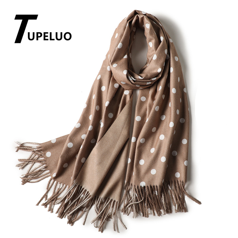 Winter Scarf with One Wave Point and One Solid Color for Women 2020 New Tassels Shawls and Wraps Thick Long Cashmere Scarves