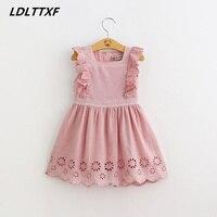 LDLTTXF Kids Girl Ruffle Dress 2018 Toddler Girl Summer Pink Lace Dress 2 7Year Princess Birthday
