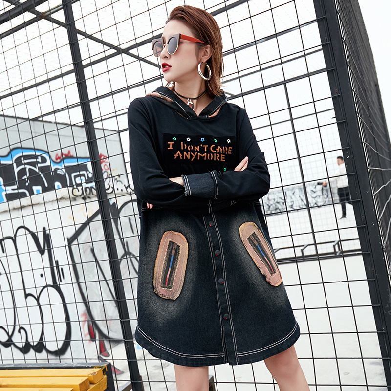 Max LuLu Luxury Japan Style Girls Jeans Streetwear Women Denim Dresses  Hooded Loose Ladies Casual Dress Woman Clothing Plus Size-in Dresses from  Women s ... 6813e9a8e53a
