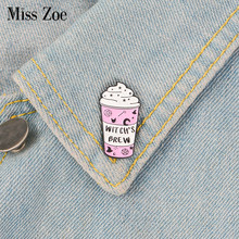 Pink ice cream Enamel Pin WITCH'S BREW badge brooch Lapel pin Denim Jeans shirt bag Cartoon Jewelry Creative Gift for Friends(China)