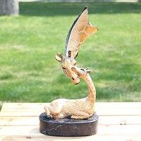 Жираф Бронзовая статуя интимные мать олень орнамент искусство украшения подарки ремесла домашнего интерьера