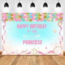 NeoBack Mermaid Backdrop Princess Pink Fish Scales Baby Birthday Party Banner Photo Background Dessert Table Decorations Props