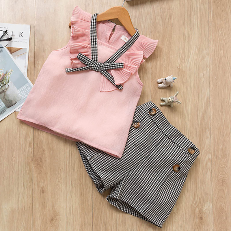 Girls Clothing Sets 2019 New Style Summer Children Clothes Cute Plaid Lace + White Bow Short Pants 2pc Kids Clothes Sets