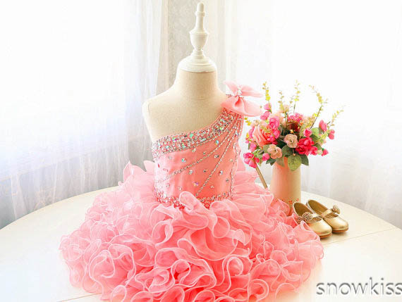 Sparkly red Flower Girl Dresses For Party birthday one shoulder beaded crystals rhinestones Dancing Dress With Bow Toddler Pagea