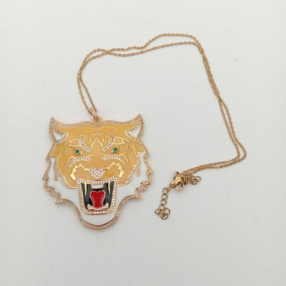 1pc 55x58mm golden plated Cz micro tiger pendant chain Charm necklace