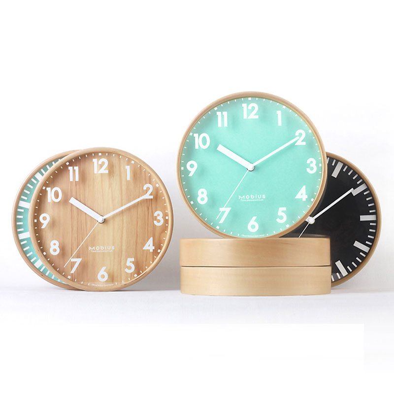 10in Wood Creativity Silent Wall Clock Small Size Diameter 25 5CM Kitchen Living Room Decoration Wall