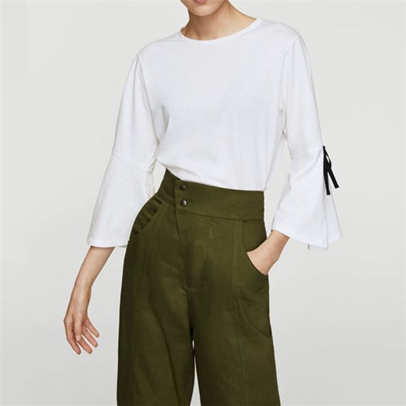 western style fashion contrast color patchwork bow thin fabric three quarter sleeve Lady tee SML XL XXL woman Casual T-Shirt