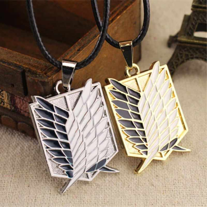 Metal anime attack free titanium necklace attack giant cosplay shell necklace survey wings  8ND357