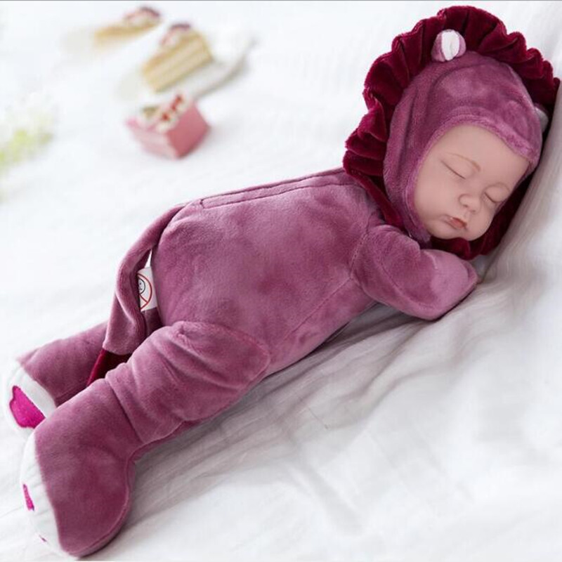25CM Plush Stuffed Toys Baby Dolls Reborn Colorful Sleep Doll Toy For Kids Sleep Kids Plush doll For Girl Toys Gift