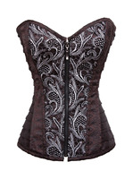 Brown Gothic sliver Zipper steampunk Corset Bustier Burlesque spiral steel Boned Cosplay Costume Top Shirt Plus Size S 2XL