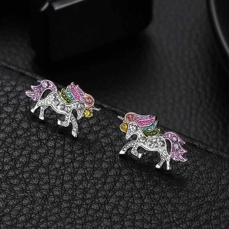 Unique Charming Jewelry Colorful Crystal Unicorn Earrings for Women Wedding Gift Cute Animal Earrings boucle d'oreille