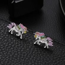 Unique Charming Jewelry Colorful Crystal Unicorn Earrings for Women Wedding Gift Cute Animal Earrings boucle d'oreille(China)