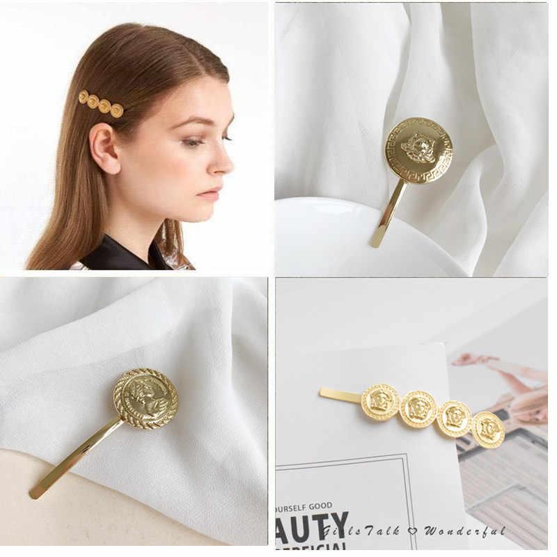 1 個ガールコインヘアクリップクラシック甘い金属ヘアピン美ブロンドクリップスタイリングツール髪の宝石アクセサリー