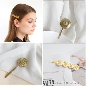 Clip Jewelry-Accessories Hairpin Coin-Hair-Clips Blonde Metal Beauty Girl 1PCS Classic