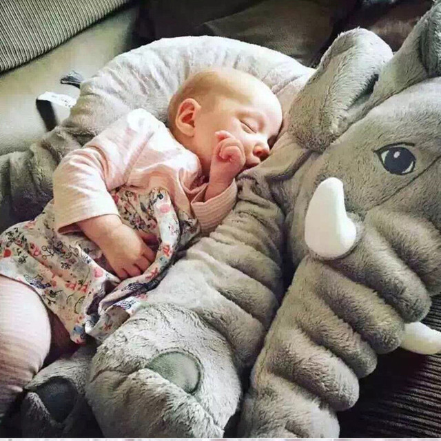40/60cm Plush Elephant Toy Sleeping Back Pillow Cute Stuffed