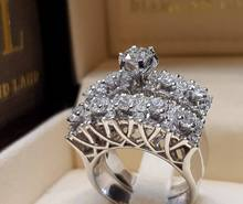 New creative hollow inlay rhinestone engagement ring wedding banquet ring rhinestone engagement hollow out ring
