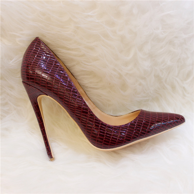 Free shipping fashion women Pumps lady burgundy patent leather snake Pointy toe high heels shoes 12cm 10cm 8cm party shoes in Women 39 s Pumps from Shoes