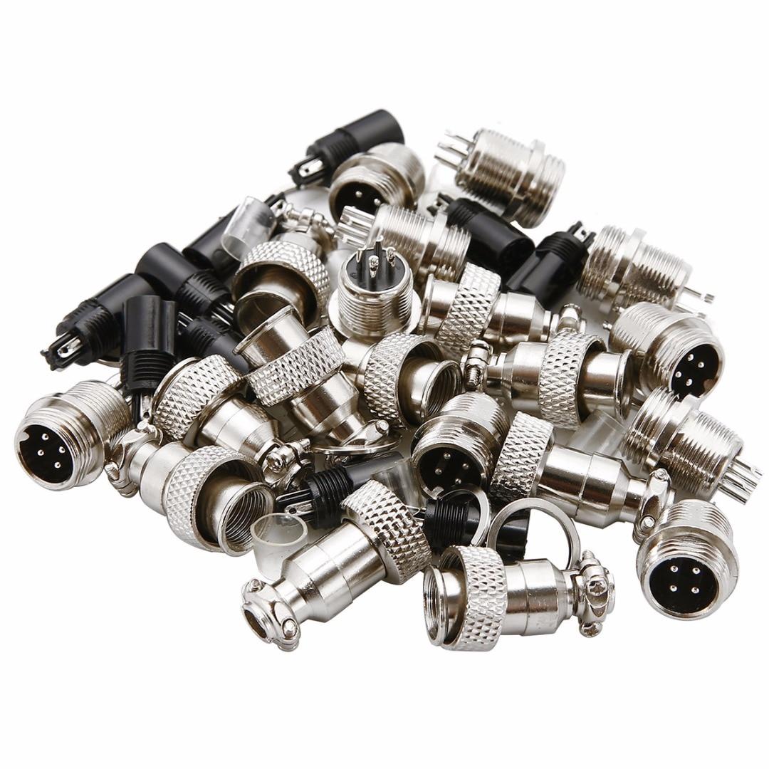 10 Set GX12 2/3/4/5/6 Pin 12mm Aviation Plug Male + Female Socket Connector Screw Thread Mayitr Electrical Supplies 300V 5A