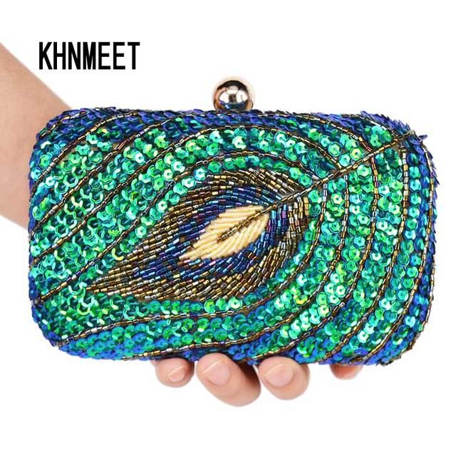 Vintage Wanita Kopling Tas Merak Payet Beaded Rantai Mini Tas Tangan  Pengantin Dompet Mewah Tas Pesta e1028d995d