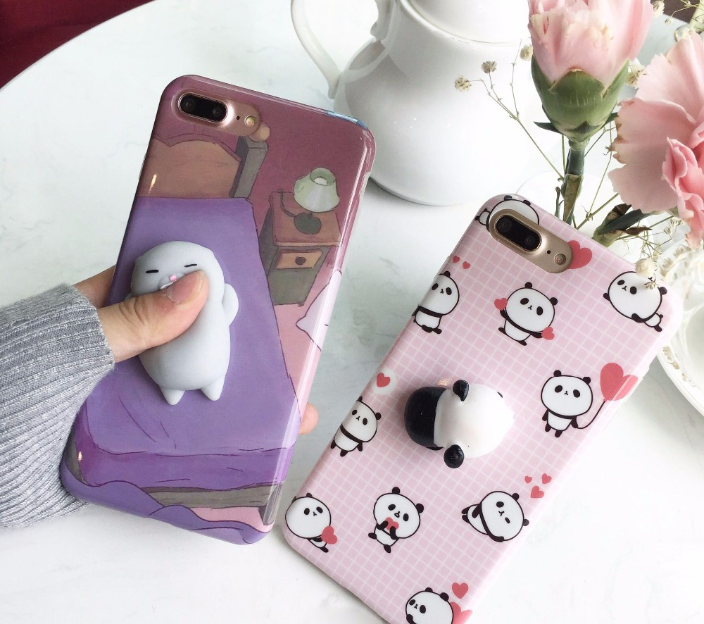 63d5843846 50pcs Soft Squishy Bear Seal Case For iPhone 6 6S Plus Cover Cute Animal  Squish Cat Hoesje Case For iPhone7 7 Plus Squishy Cover