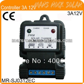 3A 12V PWM Solar Charge and discharge Controller for solar home system with LED display and MCU,artificially controlled