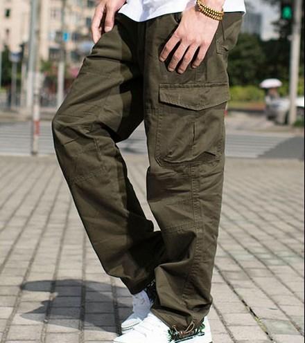 Estilo militar Loose Fit Baggy Cargo pantalones hombres Multi bolsillo  Cargo pantalones para hombres algodón Casual a825e2b8481